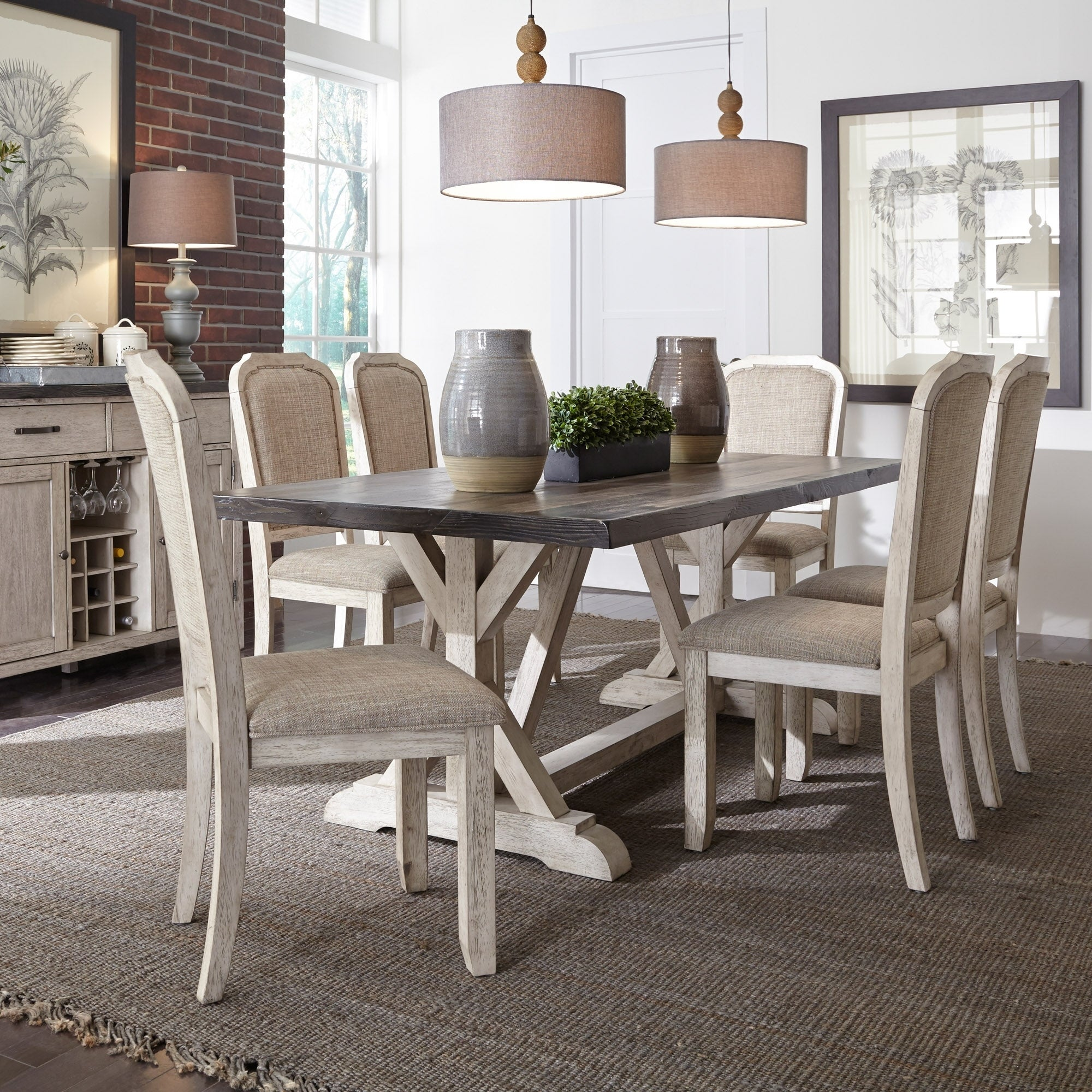 Shop Willowrun Rustic White And Grey 7 Piece Trestle Table Dining