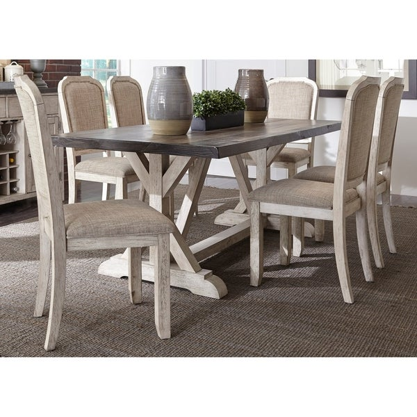 Willowrun Rustic White And Grey 7 Piece Trestle Table Dining Set