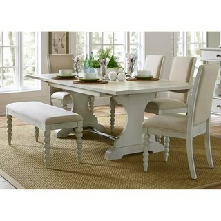 Harbor View III Dove Grey Opt 6-piece Upholstered Trestle Table Set