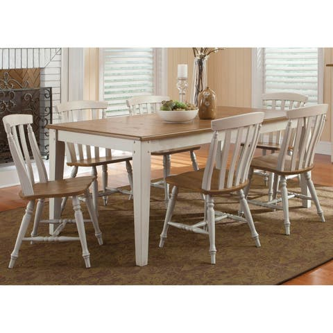 Al Fresco III Driftwood and Sand 7-piece Rectangular Leg Dining Set