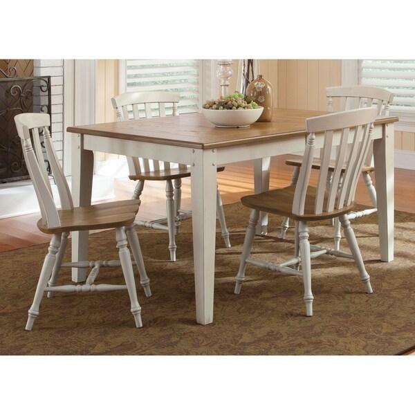 Al Fresco III Driftwood and Sand 5-piece Rectangular Table Dining Set