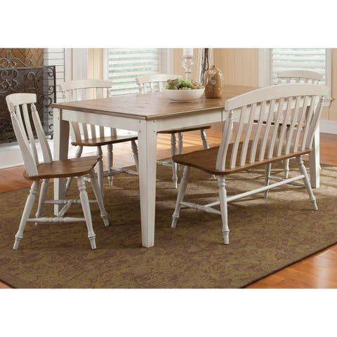 Al Fresco III Driftwood and Sand 6-piece Rectangular Leg Dining Set