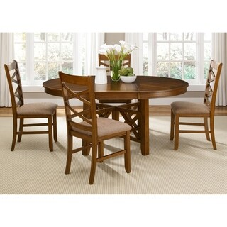 Liberty Bistro Honey Finish Rubberwood/Walnut Veneer 5-piece Oval Table Dining Set