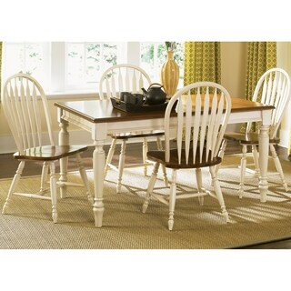 The Gray Barn Siufanua White 5-piece Windsor Back Rectangular Table Dining Set