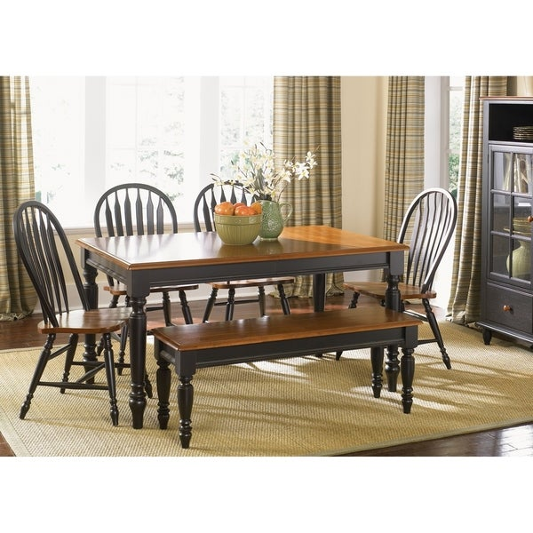 The Gray Barn Buttercup Hill Anchor Black 6-piece Windsor Back Rectangular Dining Set