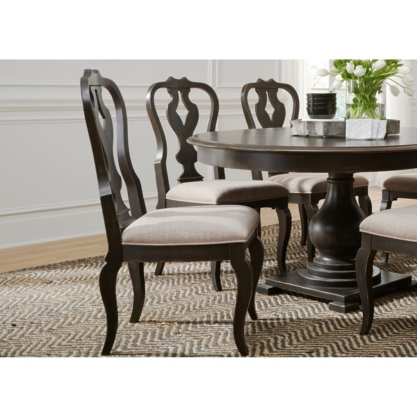 Chesapeake Wire Brushed Antique Black Splat Back Side Chair