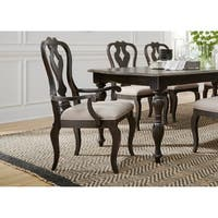 Chesapeake Wire Brushed Antique Black Splat Back Arm Chair