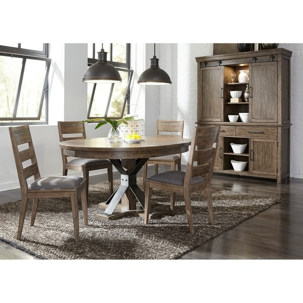 Sonoma Road Weather Beaten Bark And Metal 5 Piece Pedestal Table Set
