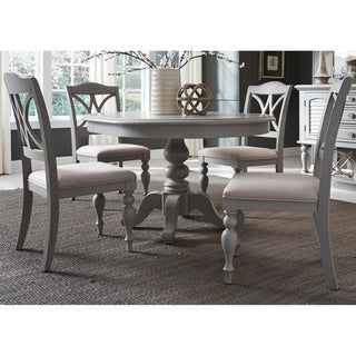 Summer House Dove Grey Round 5-piece Pedestal Table Set