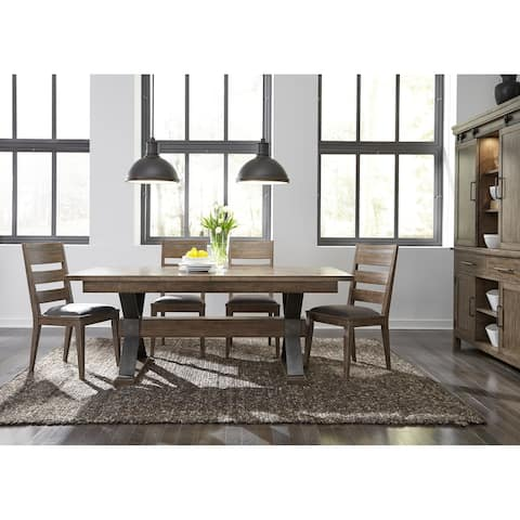 Sonoma Road Weather Beaten Bark and Metal 5-piece Trestle Table Set