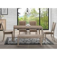 The Gray Barn Abbey Field Sandstone 6-piece Rectangular Table Set with Bench