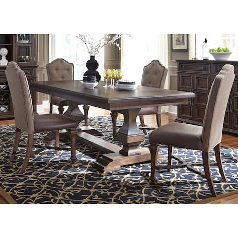 Lucca Cordovan Brown 5-piece Double Pedestal Table Set