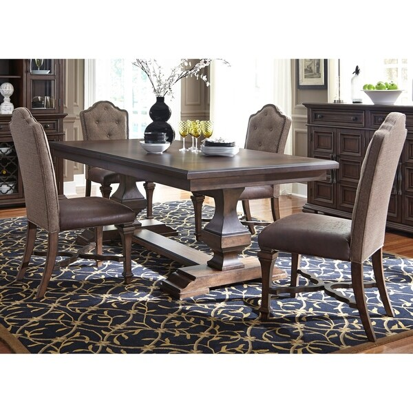 Lucca Cordovan Brown 5-piece Double Pedestal Table Set