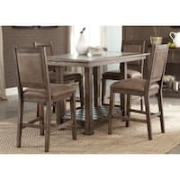 Stone Brook Rustic Saddle Brown Wood 5-piece Gathering Table Set with Faux Leather Chairs