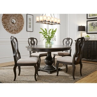 LIberty Chesapeake Wire-brushed Antique Black 5-piece Pedestal Table Set  sc 1 st  Overstock & LIberty Chesapeake Wire-brushed Antique Black 5-piece Pedestal Table ...