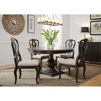 Chesapeake Wire Brushed Antique Black 5-piece Pedestal Table Set