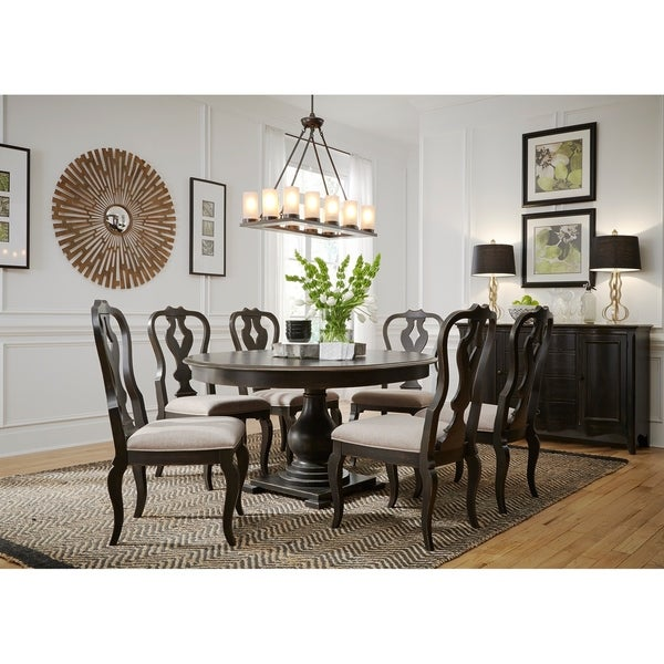Chesapeake Wire Brushed Antique Black 7-piece Pedestal Table Set