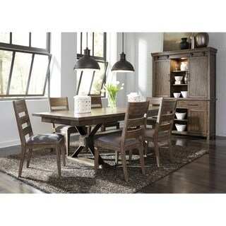 Sonoma Road Weather Beaten Bark and Metal 7-piece Trestle Table Set