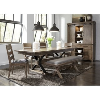 Sonoma Road Weather Beaten Bark and Metal 6-piece Trestle Table Set