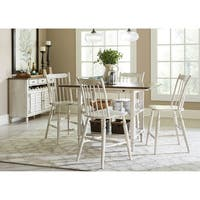 The Gray Barn Flintshire Tan Smoke and Antique White 5-piece Gathering Table Set