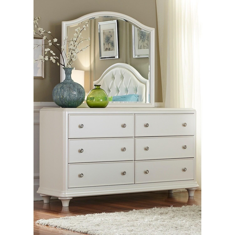 Stardust Iridescent White Dresser and Mirror