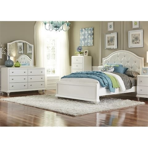 Stardust Iridescent White Panel Bed