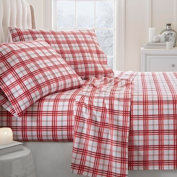 Merit Linens Premium Christmas Plaid 4 Piece Flannel Bed Sheet Set