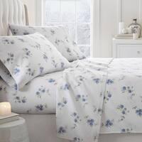 Merit Linens Premium Rose Pattern 4 Piece Flannel Bed Sheet Set