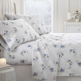 Merit Linens Premium Rose Pattern 4 Piece Flannel Bed Sheet Set (More options available)