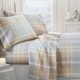 Merit Linens Premium Ultra Soft Plaid 4 Piece Flannel Bed Sheet Set