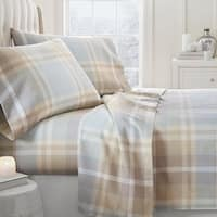 Merit Linens Premium Ultra Soft Plaid 4 Piece Flannel Bed Sheet Set