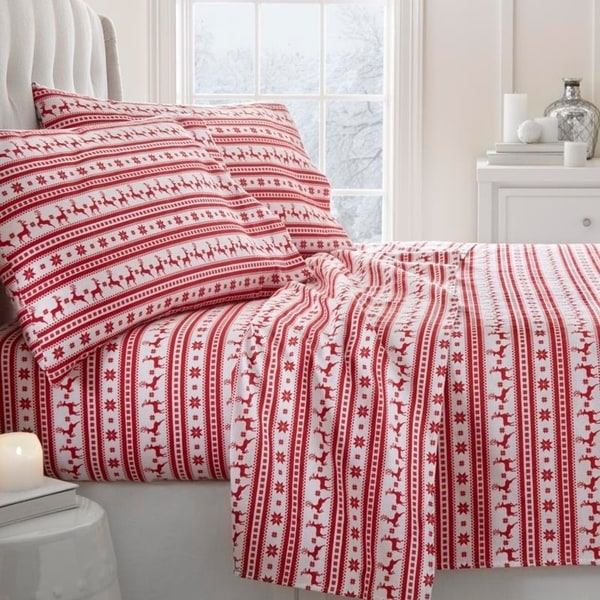 Beau Shop Merit Linens Premium Reindeer Print 4 Piece Flannel Bed Sheet Set    Free Shipping On Orders Over $45   Overstock   18620679