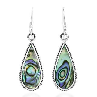 Handmade Classic Teardrop Shaped Stone Inlaid Sterling Silver Dangle Earrings (Thailand)