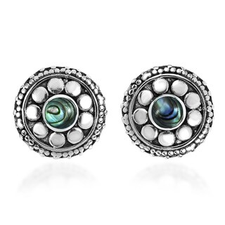 Handmade Stylish Flower with Stone Inlaid Center Sterling Silver Stud Earrings (Thailand)