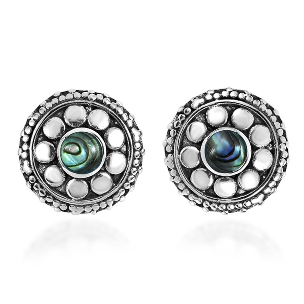 Handmade Stylish Flower with Stone Stud Earrings (Thailand). Opens flyout.