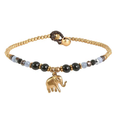Handmade Noble Elephant with Black Onyx Quarz Brass Beads Handmade Anklet (Thailand)
