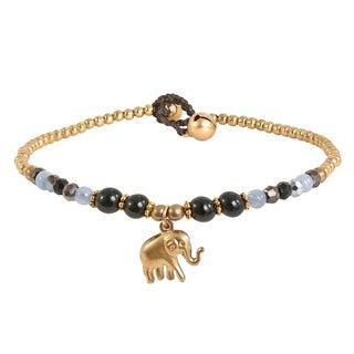 Noble Elephant with Black Onyx & Quarz & Brass Beads Handmade Anklet