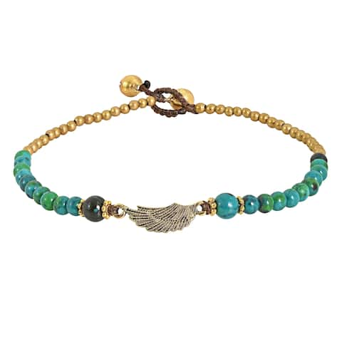 Handmade Charming Brass Wing with Stone Beads Handmade Anklet (Thailand)