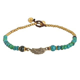 Charming Brass Wing with Stone Beads Handmade Anklet (Thailand)