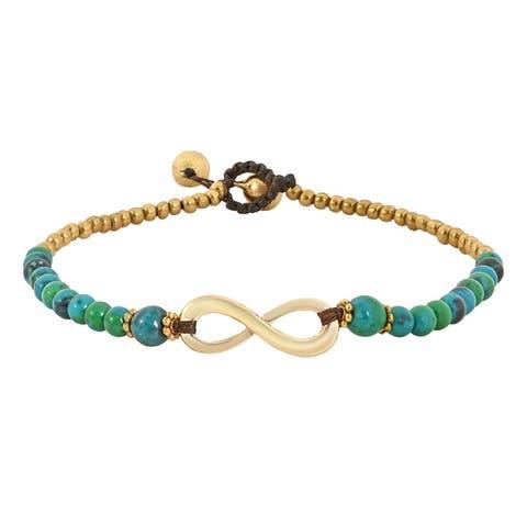 Handmade Beautiful Infinity Symbol Brass Beads Handmade Anklet (Thailand)