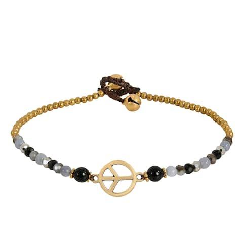 Handmade Vintage Peace Sign Onyx Quartz Brass Beads Anklet (Thailand)