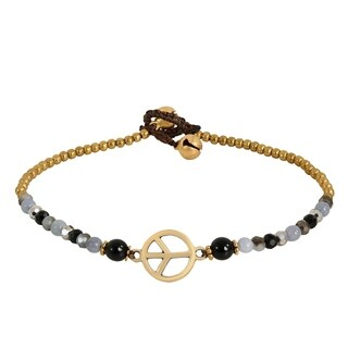 Handmade Vintage Peace Sign Onyx Quartz Brass Beads Anklet (Thailand)