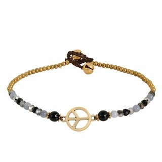 Vintage Peace Sign Onyx Quartz Brass Beads Handmade Anklet (Thailand)
