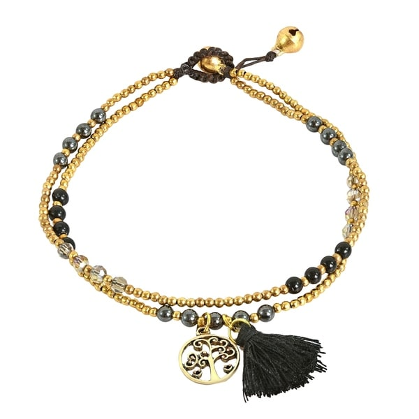 Tree of Life Tassel with Black Onyx Brass Beads Anklet (Thailand)