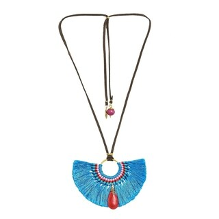 Chic Shaped Blue Tassels Synthetic Coral Accented Necklace (Thailand)