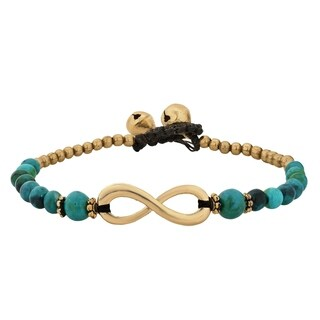 Infinity Symbol with Stone Brass Beads Handmade Bracelet (Thailand) (2 options available)