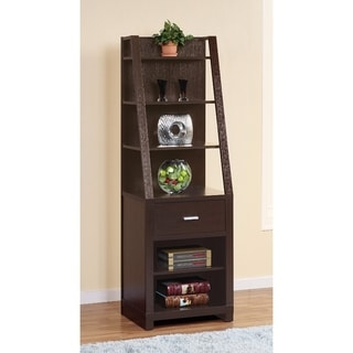 Contemporary style Media Tower With 6 Shelves, Dark Brown