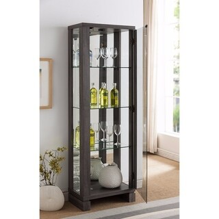 Grey Wood LED Curio with Clear Glass Shelves
