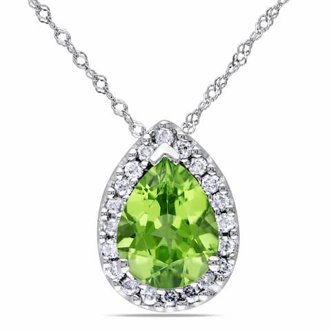 Miadora 14k White Gold 1/5ct Diamond and Peridot Pendant