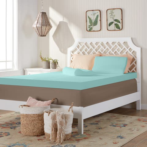 Comfort Dreams 4-inch Memory Foam Mattress Topper with 2 Contour Pillows